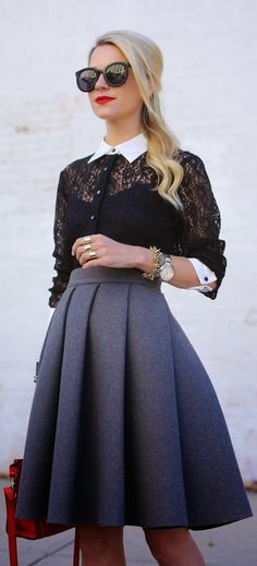 Luv to Look | Curating Fashion & Style: Fashion trends | Black lace shirt, grey skirt