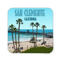 Shop San Clemente Pier Beach California Vintage Square Sticker created by AKLawrence. San Clemente Beach, San Clemente California, Pacific Blue, Laptop Stickers, Santa Barbara, Places Ive Been, Custom Stickers, Activities For Kids, Vsco