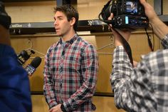 Pascal Dupuis gathers his equipment and speaks to the media during the Penguins Get Away Day Hockey Games, Hockey Players, Pascal Dupuis, Pittsburgh Penguins, Dupes, Sports, Hs Sports, Sport, Beauty Hacks