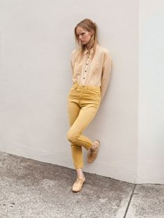 yellow pants, yellow shirt, nude flats