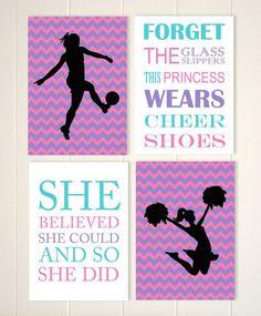 Teen girl gift, cheerleader wall art, soccer girl art, girls motivational art, inspirational art, set of 4, choose your sports and colors by PicabooArtStudio