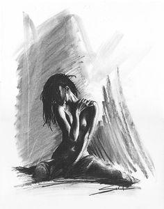 Nude art female figure drawing fine art print gift by SignedSweet, $15.00