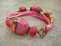 Peony Reds Kazuri Beadwork Bracelet, Beaded Macrame Bracelet, Hand-Knotted with Antique Bronze Bracelet OOAK