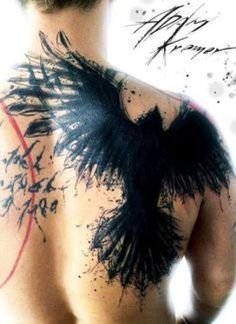 Tattoo design contest: I want a raven for the back of each shoulder done in an abstract style. I don't want completely black, I'd like some color thrown...