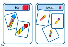 Printable activity, with a firework theme, suitable for workstation use. Learners sort images into big or small groups. The base boards could also be used when sorting other items by size. Maths Eyfs, Eyfs Activities, Nursery Activities, Numeracy, Classroom Activities, Bonfire Night Activities, Printable Math Games, Sensory Art, Spanish Immersion