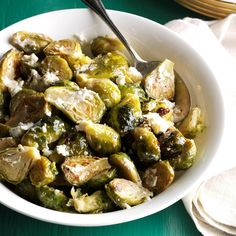 Brussels Sprouts with Garlic & Goat Cheese Recipe -I wanted to up my ...