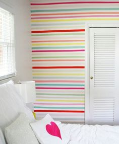 "Just add Washi Tape to a wall. ""Just like masking tape it does come off…unlike duct tape it does not leave a sticky mess."" (wishywashi.com)"