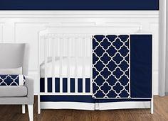 Bumperless Luxury Navy Blue & White Trellis Geometric Baby Boy Crib Bedding Set - Baby Bed - Ideas of Baby Bed - Bumperless Luxury Navy Blue & White Trellis Geometric Baby Boy Crib Bedding Set Price :