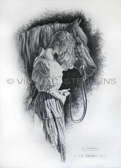 romantic pencil art, a romantic drawing of a woman and her horse by Virgil C. Stephens western artist