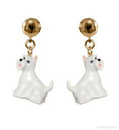 Boucle d'oreille chien Scottish Terrier blanc Nach Bijoux
