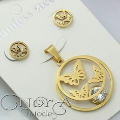 نیم ست استیل پروانه و نگین  با روکش طلای   عیار  کد:167 قیمت:40تومان  #noragallery #jewelry  #jewels #necklace  #bracelet #mashhad #clips #زیورآلات #گردنبند #گل #گلسر #طلا #نقره #کریستال #جواهر #جواهرات #دستبند #روسری #زیور  #کهکشان #ماه #فیروزه #چشم_زخم #ستاره #کلید #مشهد #زیورآلات_مشهد