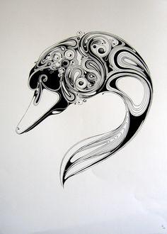 Si Scott screen print of a swan. Si Scott, Small Butterfly Tattoo, Butterfly Drawing, Doodles Zentangles, Swan Tattoo, Celtic Patterns, Sharpie Art, Bird Artwork, Art Prints Quotes