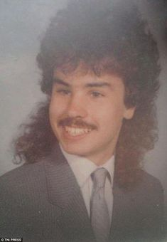 This young man was clearly proud of his rapidly developing facial hair - not to mention his mullet