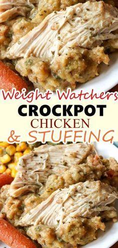 Crockpot chicken and stuffing - weight watchers recipes easy Healthy Crockpot Recipes, Ww Recipes, Skinny Recipes, Slow Cooker Recipes, Cooking Recipes, Crockpot Drinks, Skinny Taste Crockpot, Weight Watcher Crockpot Recipes, Recipes Dinner