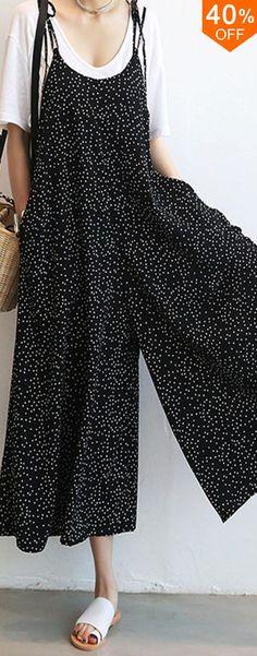 O-NEWE Women Loose Dot Spaghetti Strap Jumpsuits.  #women #leggings #fashion