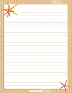 Printable starfish stationery and writing paper. Free PDF downloads at http://stationerytree.com/download/starfish-stationery/.
