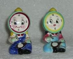 Vintage Anthropomorphic PY Clock Salt and Pepper Shakers