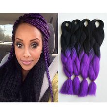 24 Inch Purple Braiding Hair 3pcs 5pcs Synthetic Kanekalon Jumbo Braid For Black Woman 100g