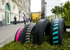 """Invasion verde"" by Genaro Alva, Denise Ampuero, Gloria Andrea Rojas and Claudia Ampuero, Lima, 2010 #peru #temporary #green #placemaking #recycle"