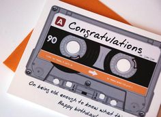 Funny Birthday Card - Cassette Mix Tape Happy Birthday Card