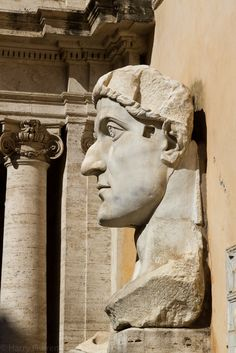 Head of Constantine, one of the remains of a colossal statue, marble, 313-324 AD, Musei Capitolini, Italy