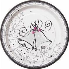 Wedding Style Round Dessert Plates 8ct