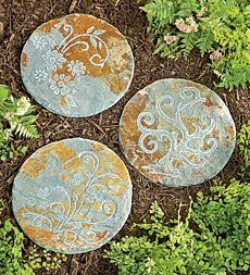 "12"" dia. x 1/2""H Botanical Slate Stepping Stone . $14.95. 12"" dia. x 1/2""H Botanical Slate Stepping Stone . Pure natural etched slate garden stepping stones feature some of natures charming creatures or graceful botanical designs. Use as decorative garden accents or create a pathway. Approx. 12"" dia. Natural slate stepping stone Great garden accent or pathway stone Available Styles Floral Swirl Tree Size 12"" dia."