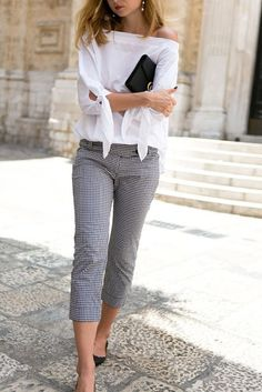 off shoulder white top with liner short casual pant - summer outfits