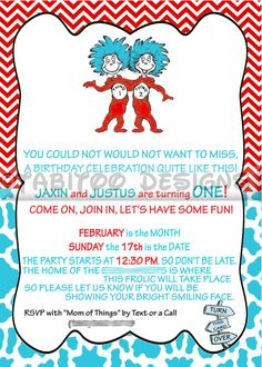 Thing 1 And Thing 2 Birthday Party Printable Invitation Birthday