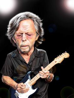 Caricature of Erik Clapton by Tim Myers.