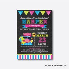 Beach Owl Pink Chalkboard Kids Birthday Invitation / Personalized (CKB.311)