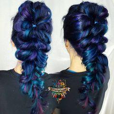 """Mermaid wedding color by me and Viking Mohawk mermaid tail braid by @hair_by_jessy_silva_ ♏♏ #braids #braid #arcticfoxhaircolor @arcticfoxhaircolor…"""
