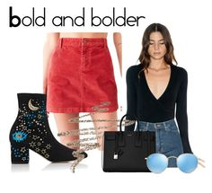 """Bold and bolder: bright skirt&statement shoes"" by faithisabelle ❤ liked on Polyvore featuring BDG, Valentino, American Apparel, Anastasia Beverly Hills, Yves Saint Laurent and Ray-Ban"