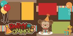 Party Animal by EasyScrapKits on Etsy Birthday Scrapbook Pages, Scrapbook Page Layouts, Scrapbook Kit, Scrapbooking Ideas, Family Games To Play, Diy Scarf, Animal Birthday, Fathers Day Cards, Animal Party