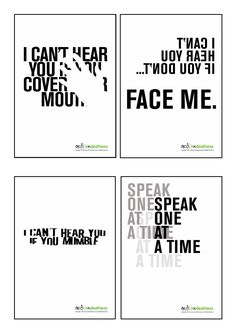 A set of 4 different size high resolution posters which raise awareness of deafness, and include communication tips. These eye catching posters would be ideal to display in your office, encouraging staff to think about the needs of deaf people, starti Sign Language Phrases, Sign Language Interpreter, Deaf Quotes, Libra, Deaf Art, Hearing Impairment, British Sign Language, Deaf People, Deaf Culture