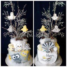 Winter Owl Themed Diaper Cake www.facebook.com/DiaperCakesbyDiana