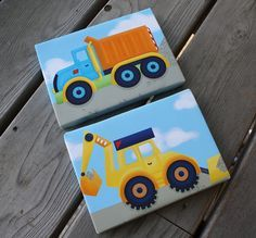 Set of 2 Mini Bright Construction Truck 5x7 Stretched Canvases Baby Nursery CANVAS Bedroom Wall Art