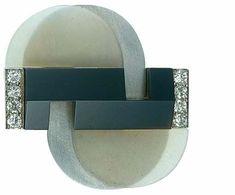 Broche, vers 1937 Raymond TEMPLIER Platine, onyx, cristal dépoli, diamants Art Deco © Les Arts Décoratifs