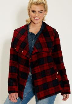 plus size peacoat in plaid with tie belted waist - #maurices
