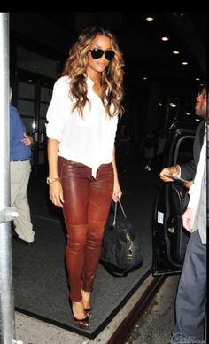 Ciara rocking 'red brick' leather leggings