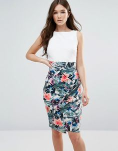Buy it now. Closet Contrast Floral Drape Skirt Dress - Multi. Dress by Closet, Stretch woven fabric, Round neckline, Floral print skirt, Tied waist to back, Zip fastening, Button keyhole closure, Slim fit - cut close to the body, Machine wash, 96% Polyester, 4% Elastane, Our model wears a UK 8/EU 36/US 4 and is 174cm/5'8.5 tall. ABOUT CLOSET Designing and producing a covetable collection of day to night dresses in the heart of London, Closet transcends seasons to bring you fashion-forward…