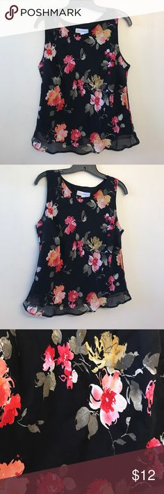Black floral scoop neck This shirt is in mint condition, size 14, Shortsleeve, floral summer top Petite Sophisticate Tops Tank Tops