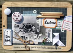 Ardoise scolaire décorée. Cadeau Surprise, Crafts For Kids, Diy Crafts, Home And Deco, Washi Tape, Decoration, Canvas Frame, Baby Room, Back To School