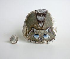Medium Hand Painted River Rock Cat Petrified Cat by qvistdesign