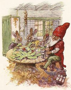 """""""The most scrumptious lunch a bunny could wish to see"""" by Ernest Aris"""