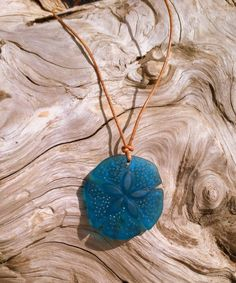 SUMMER SALE--- Sea Glass Sand Dollar and Leather Necklace by SmithNJewels on Etsy