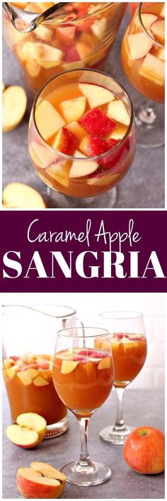 Caramel Apple Sangria Recipe - apple cider, caramel sauce and white wine make this fall themed sangria a hit for gatherings and parties! www.crunchycreamysweet.com