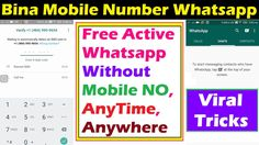 Active Whatsapp Without Mobile Number 2017 New Tricks Bina Number Whatsapp Active Kare How To Active Whatsapp Without Mobile Number Or Phone No Bina Mobile Number Whatsapp Account Kaise Banaye Free Me Register Kare Whatsapp Bina Mobile Phone SIM Card Whatsapp Tips and Tricks use whatsapp without phone no use whatsapp without mobile number  Ftb MadeSimple9662A friendtechboard B662A Friend Tech Board C662A  Exclusive Tutorial Videos And Unique Tips And Tricks By friendtechboard made simple…