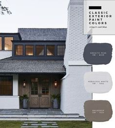 Classic Exterior Paint Color Combinations - roomfortuesday.com Color Ostion, Exterior Paint Color Combinations, Exterior Paint Colors For House, Exterior House Colour Schemes, Farmhouse Paint Colors, Exterior Paint Ideas, Grey House Paint, Exterior House Paint Colors, Paint Colors For Home