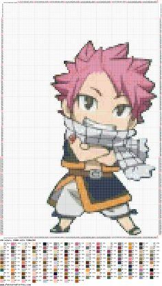 Perler / hama bead / cross stitch pattern of Natsu from fairy tail.